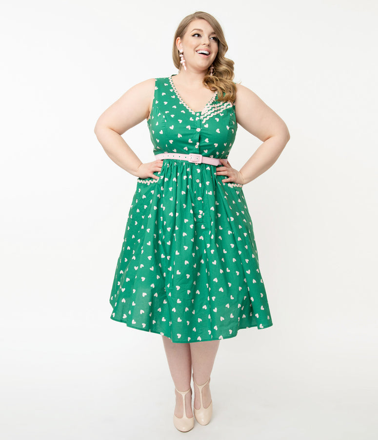 Unique Vintage Plus Size Green & Pink Heart Print Syracuse Swing Dress