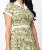 Unique Vintage Green Plaid & Heart Print Alexis Swing Dress