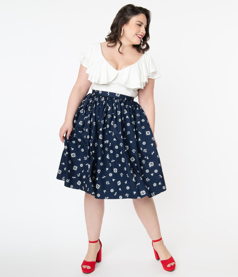 Plus Size Navy Nautical Iconography Print Gathered Swing Skirt