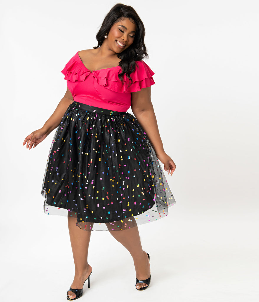 Plus Size Black Mesh & Rainbow Metallic Polka Dots Swing Skirt
