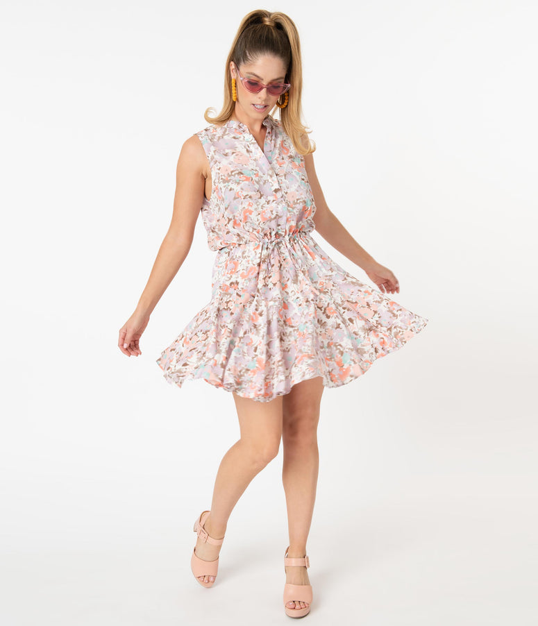 Retro Style Pastel Floral Print Fit & Flare Dress