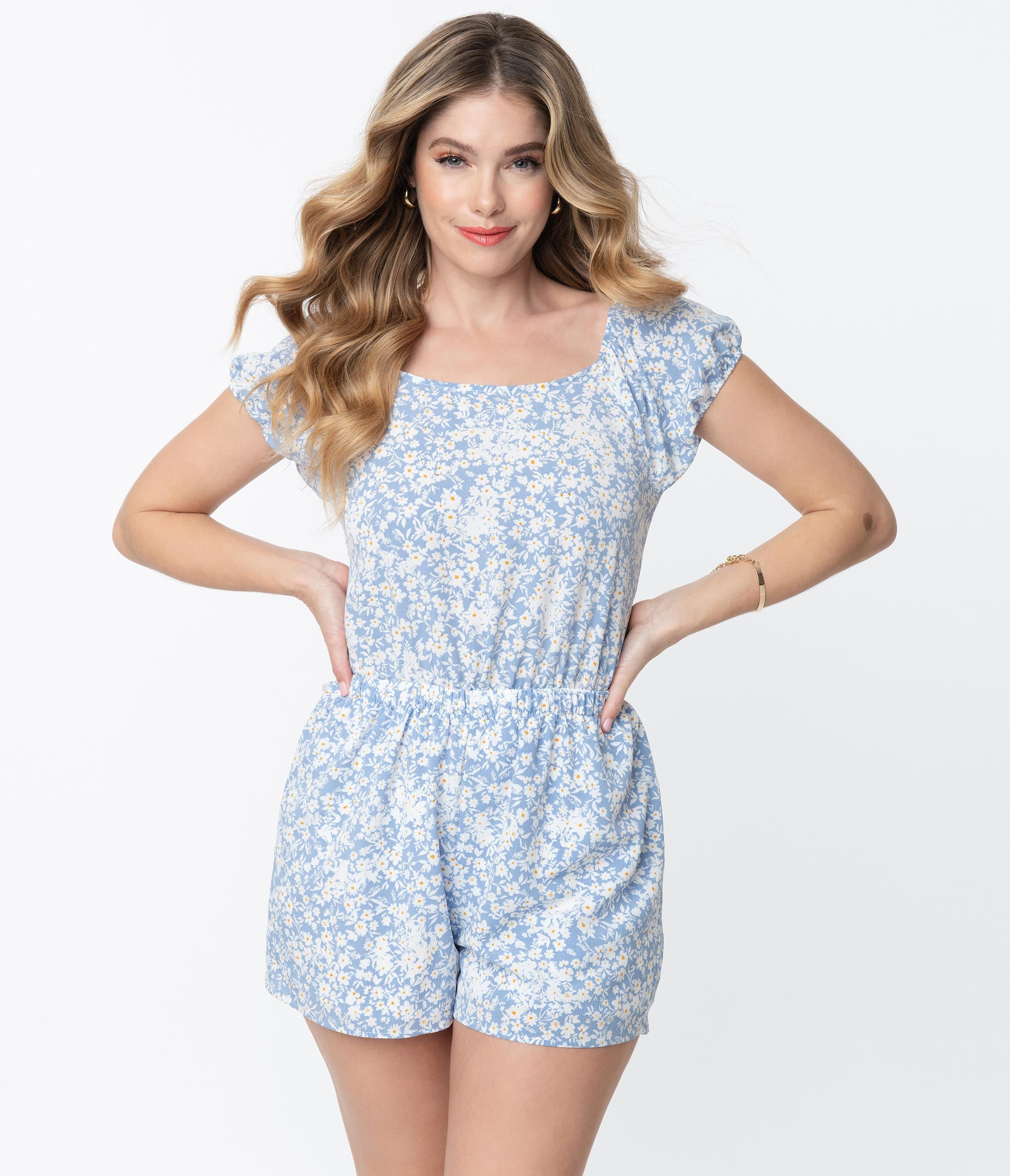 Vintage Rompers, Playsuits | Retro, Pin Up, Rockabilly Playsuits Light Blue  White Floral Back Tie Romper $58.00 AT vintagedancer.com