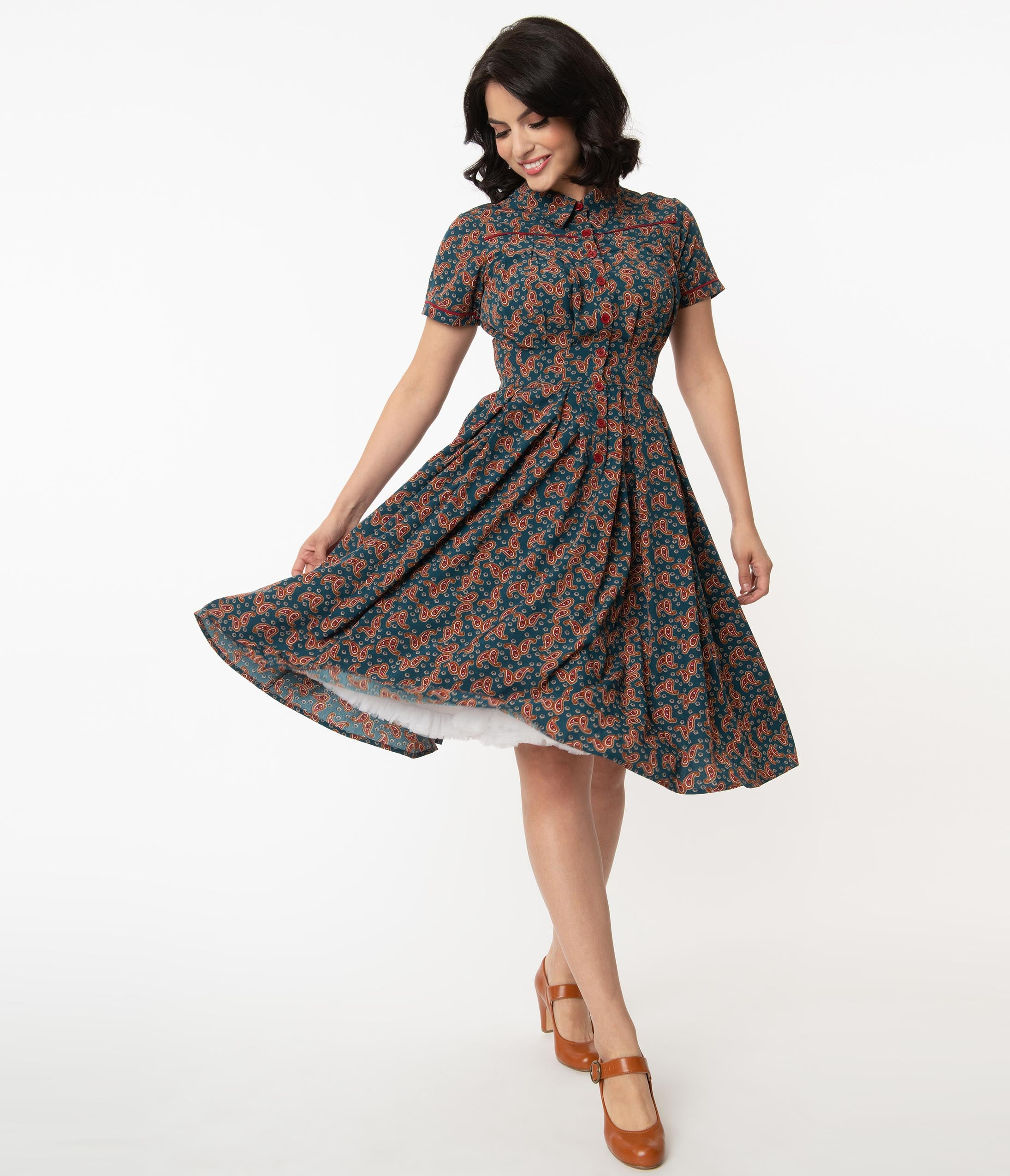 1940s Style Clothing & 40s Fashion Unique Vintage Teal  Paisley Print Springfield Swing Dress $68.00 AT vintagedancer.com