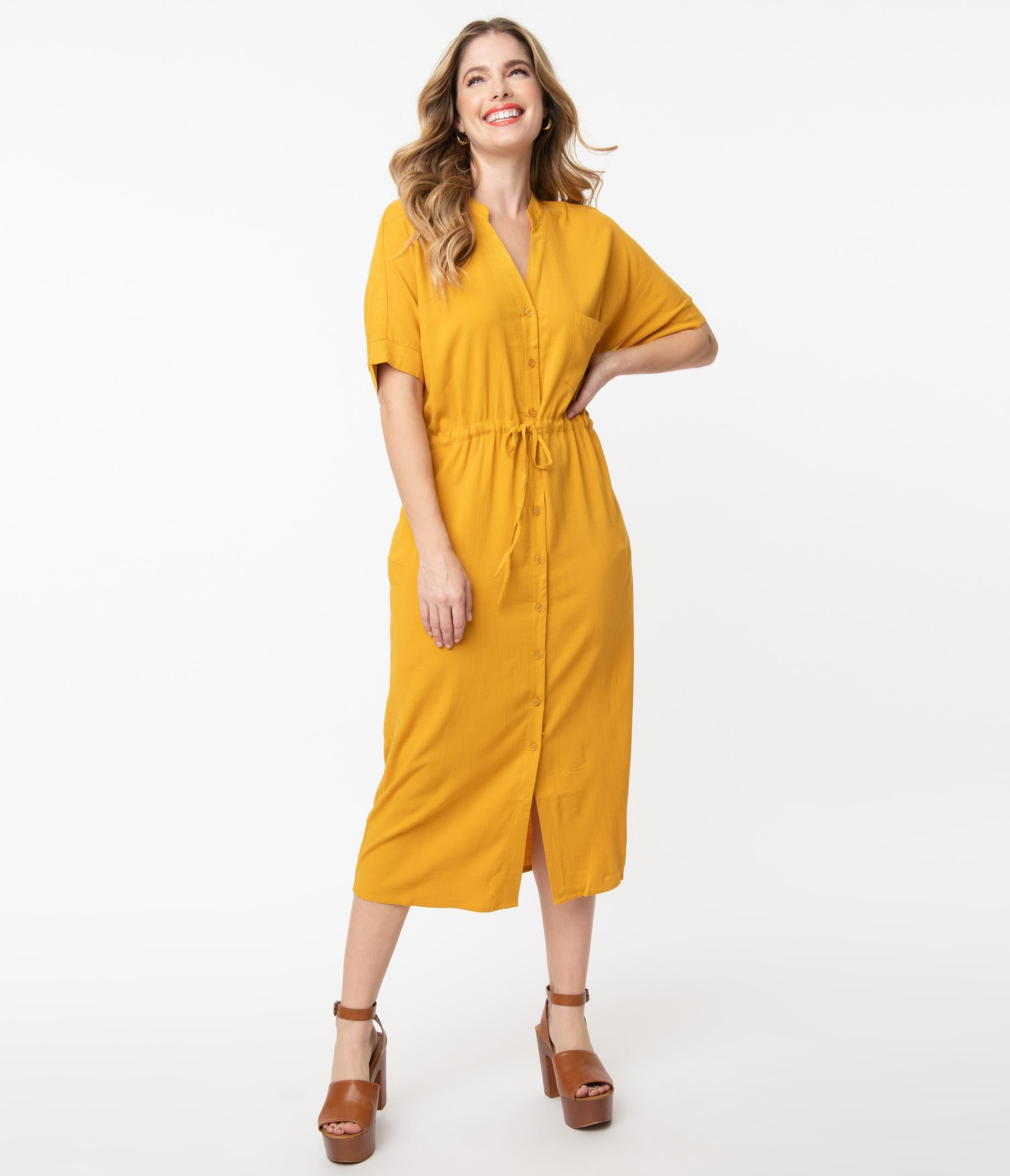 70s Clothes | Hippie Clothes & Outfits 1970S Mustard Button Up Midi Shirtdress $68.00 AT vintagedancer.com