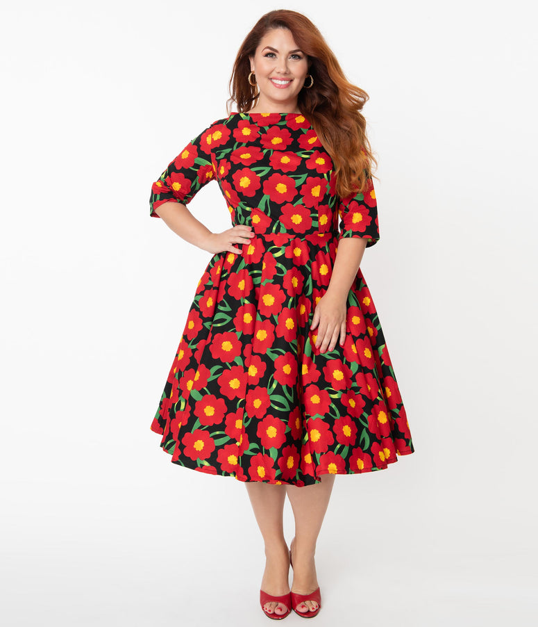 Magnolia Place Plus Size Black & Red Marigold Floral Print Sleeved Audrey Swing Dress