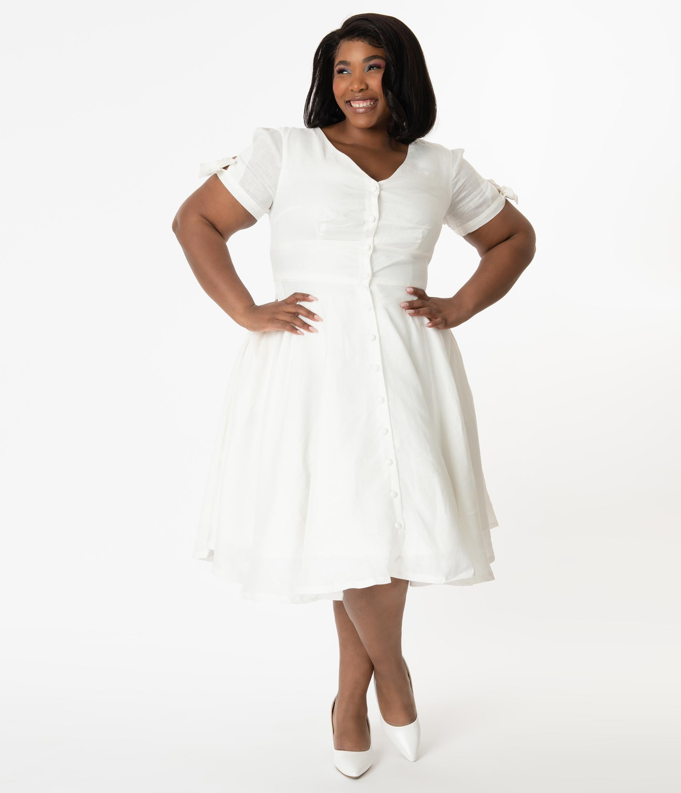 1980s Clothing, Fashion | 80s Style Clothes Plus Size 1950S Style White Linen Eleanor Swing Dress $98.00 AT vintagedancer.com