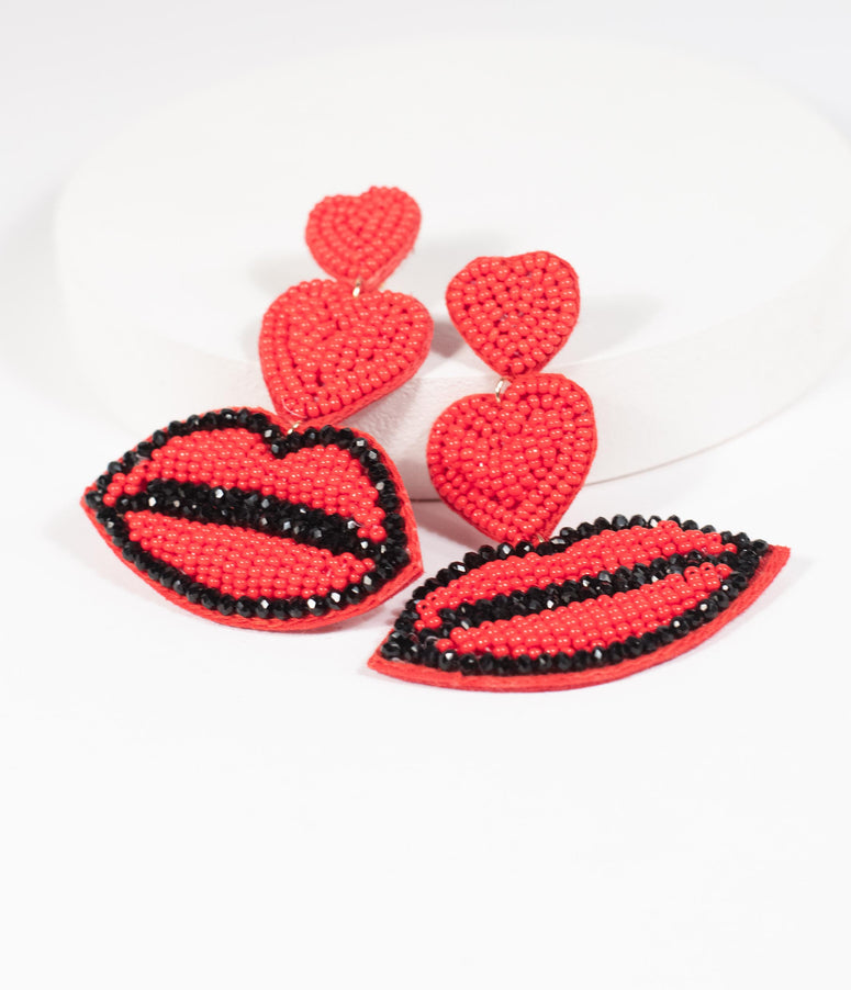 Red Beaded Hearts & Kisses Drop Earrings