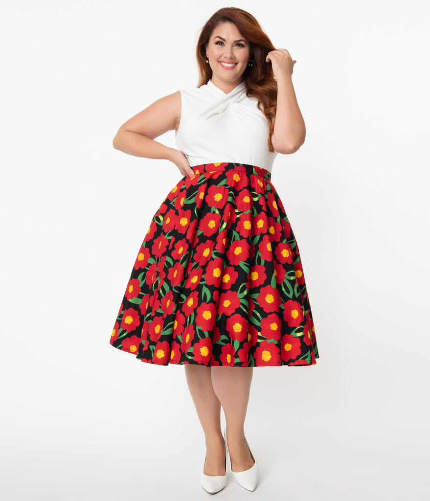 Magnolia Place Plus Size 1950s Style Black & Red Marigold Floral Print Circle Skirt