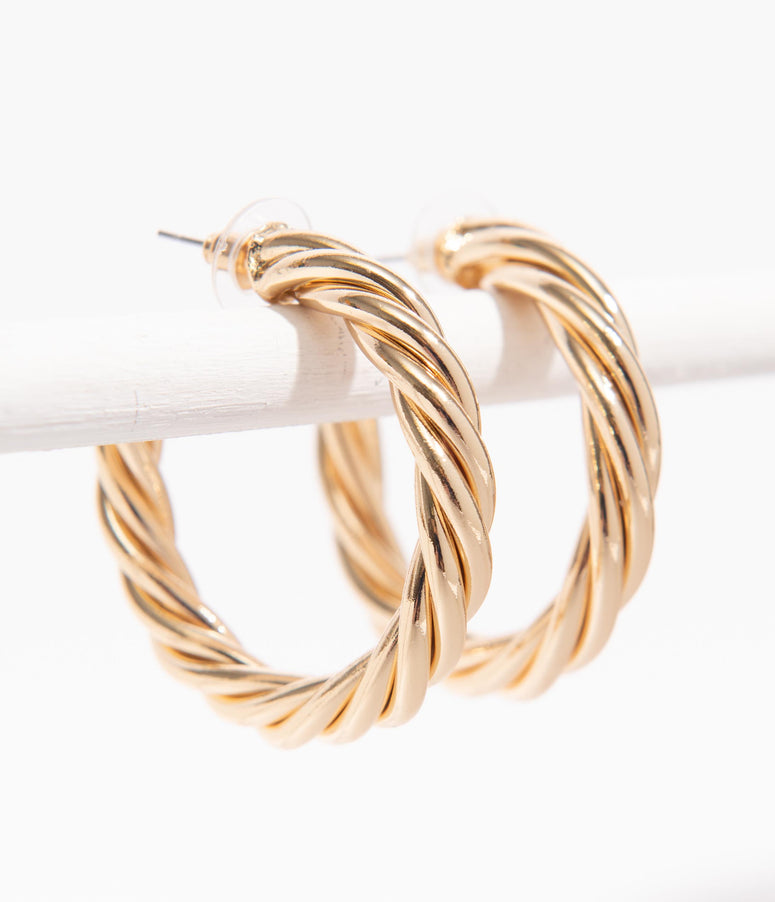 Retro Style Gold Twisted Hoop Earrings