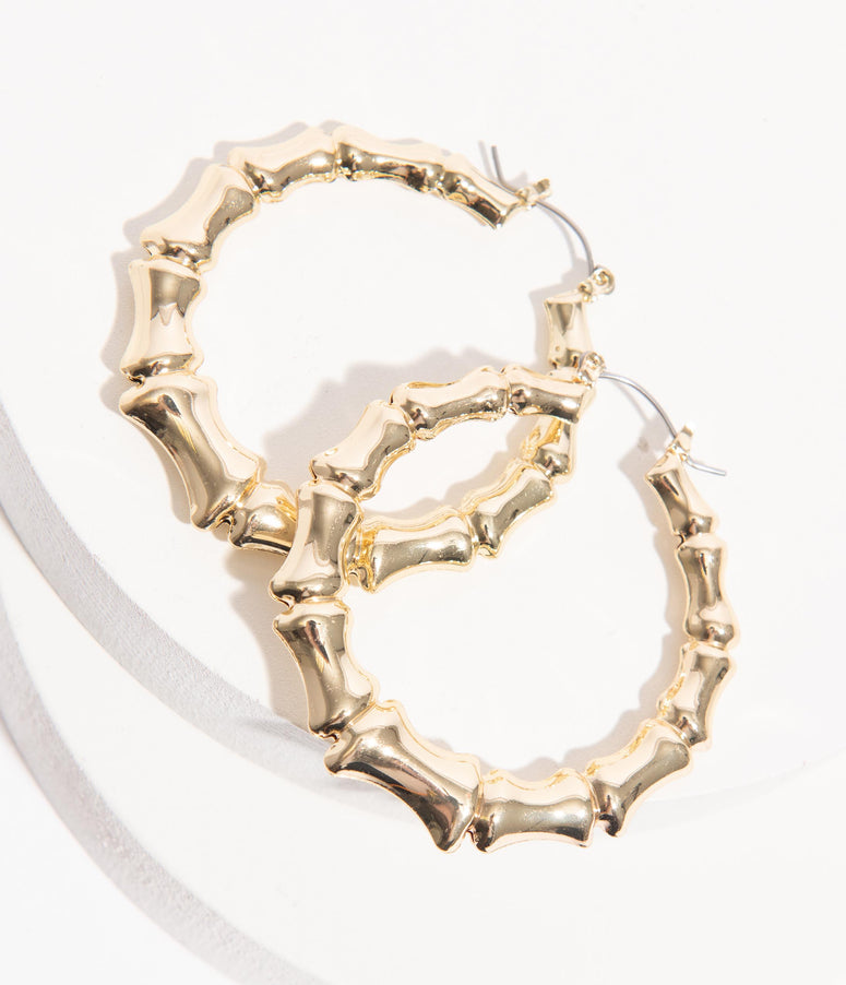 Retro Style Gold Bamboo Hoop Earrings