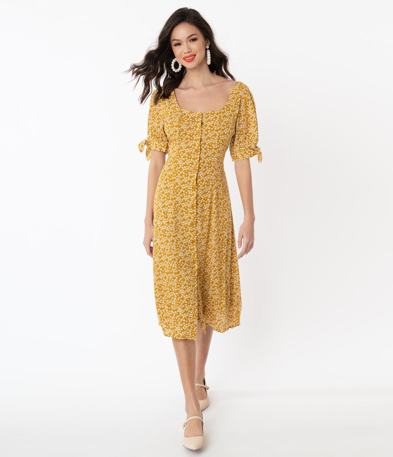 1940s Mustard & White Floral Print Midi Shirt Dress