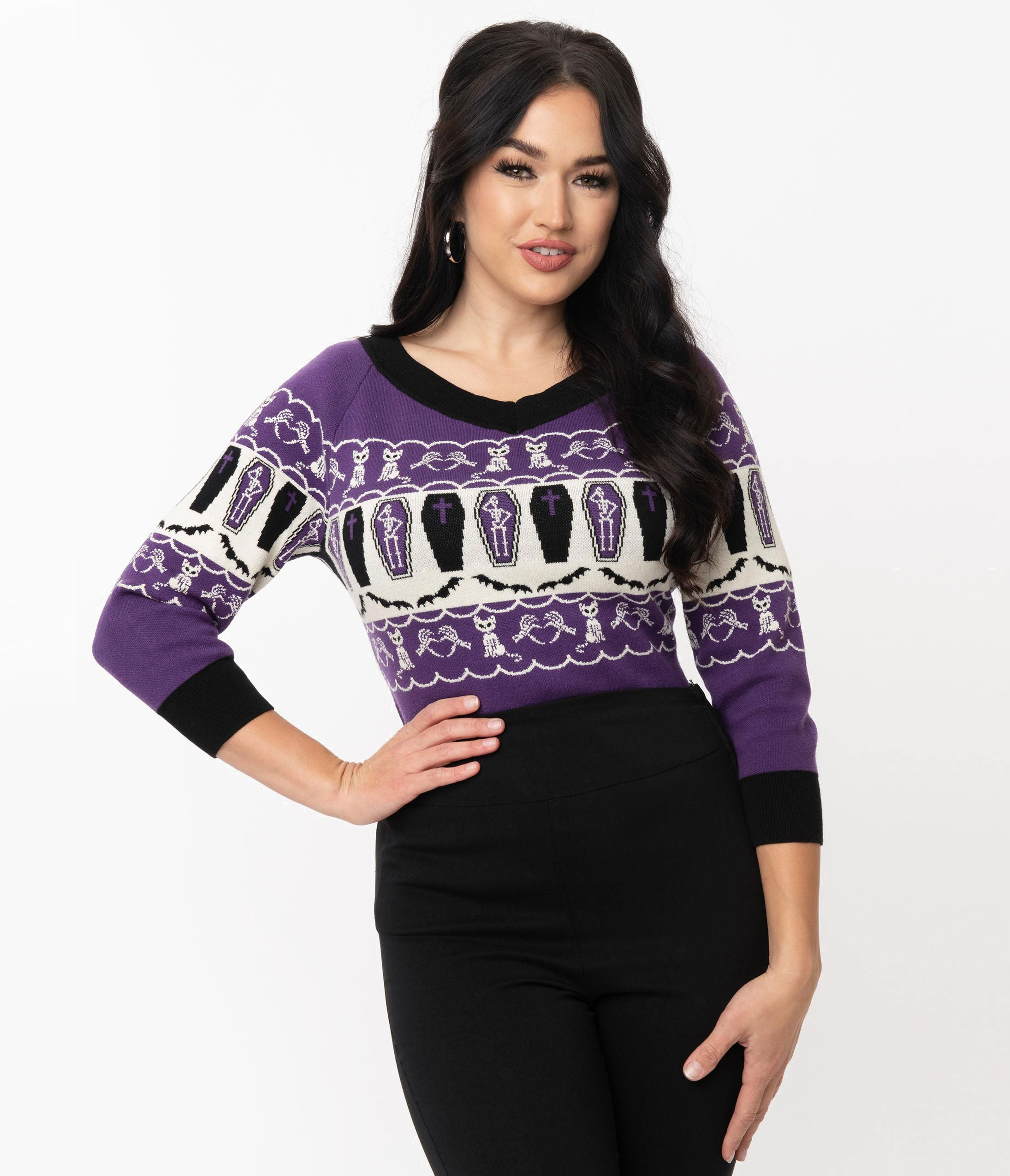 Easy Retro Halloween Costumes – Last Minute Ideas Preorder - Unique Vintage Purple Coffins  Cats Fair Isle Pattern Scully Sweater $68.00 AT vintagedancer.com
