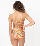 Pink Lemons & Oranges Print One Piece Swimsuit