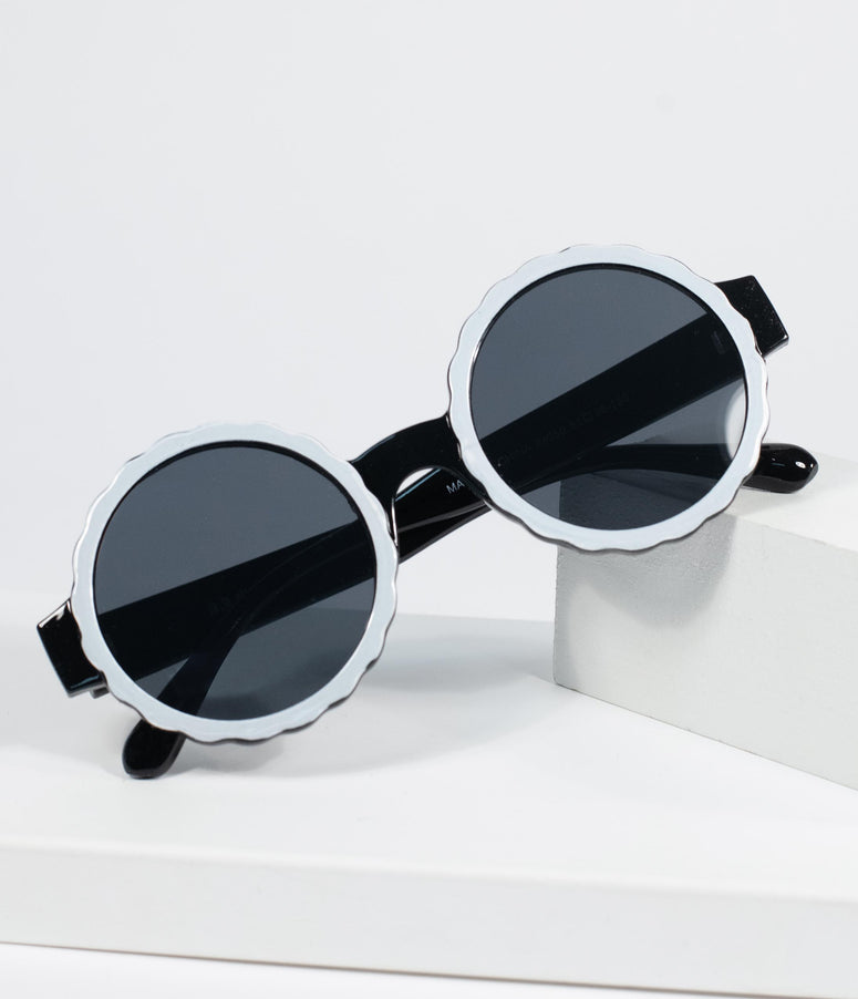 1960s Black & White Rounded Mod Sunglasses