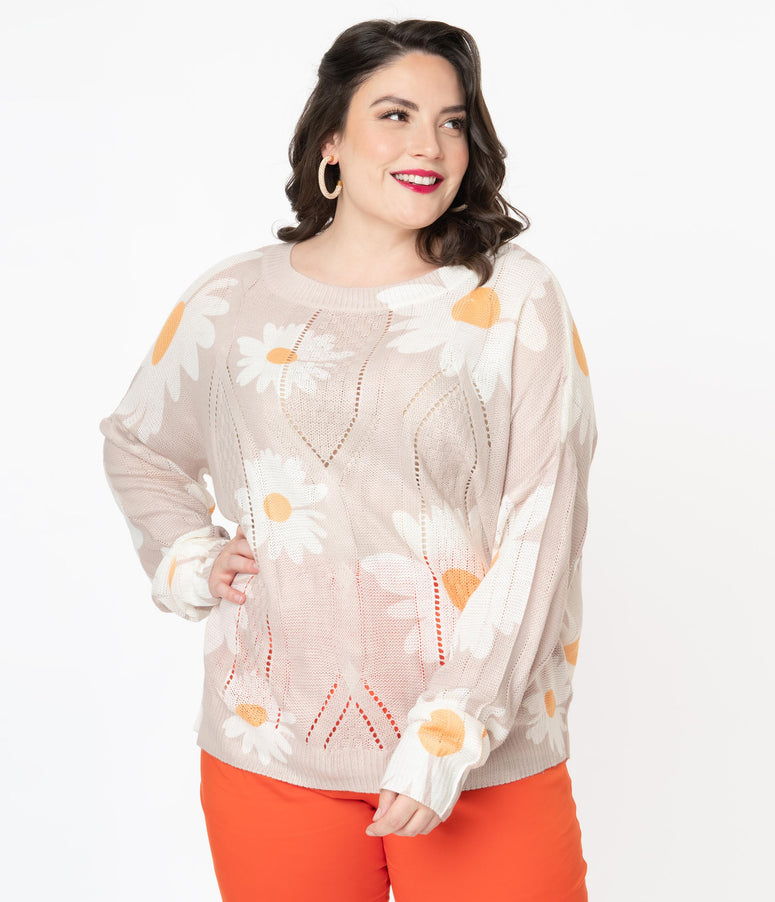 Plus Size 1960s Style Taupe & White Daisy Floral Sweater