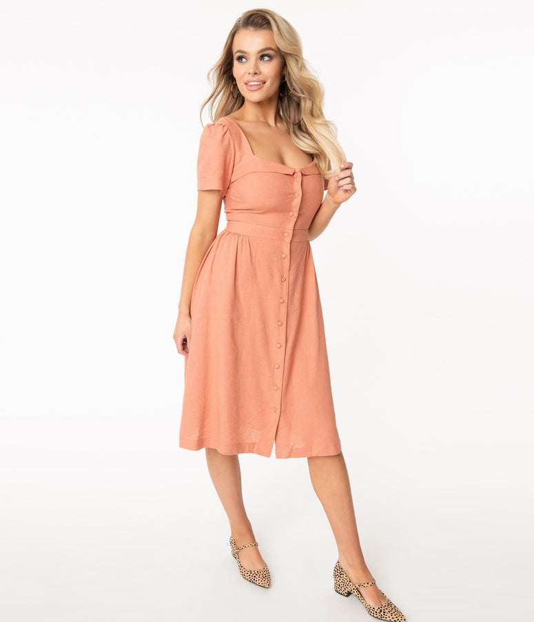 1940s Style Peach Pink Michaela Shirtdress