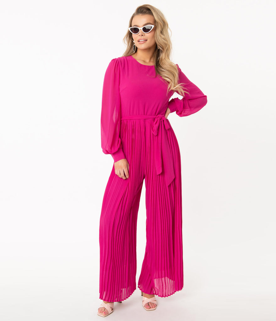 1970s Style Magenta Accordion Pleated Jumpsuit