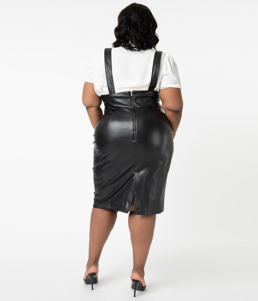 Plus Size 1960s Style Black Vegan Leather Pencil Suspender Skirt