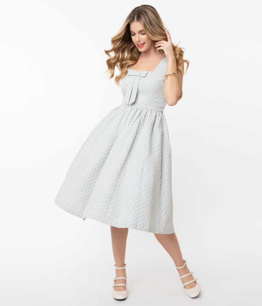 Ivory & Light Blue Gingham Pattern Victoria Swing Dress