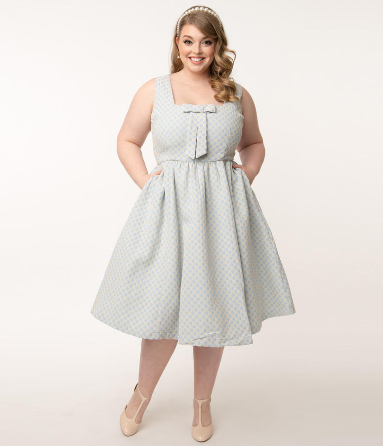 Plus Size Ivory & Light Blue Gingham Pattern Victoria Swing Dress