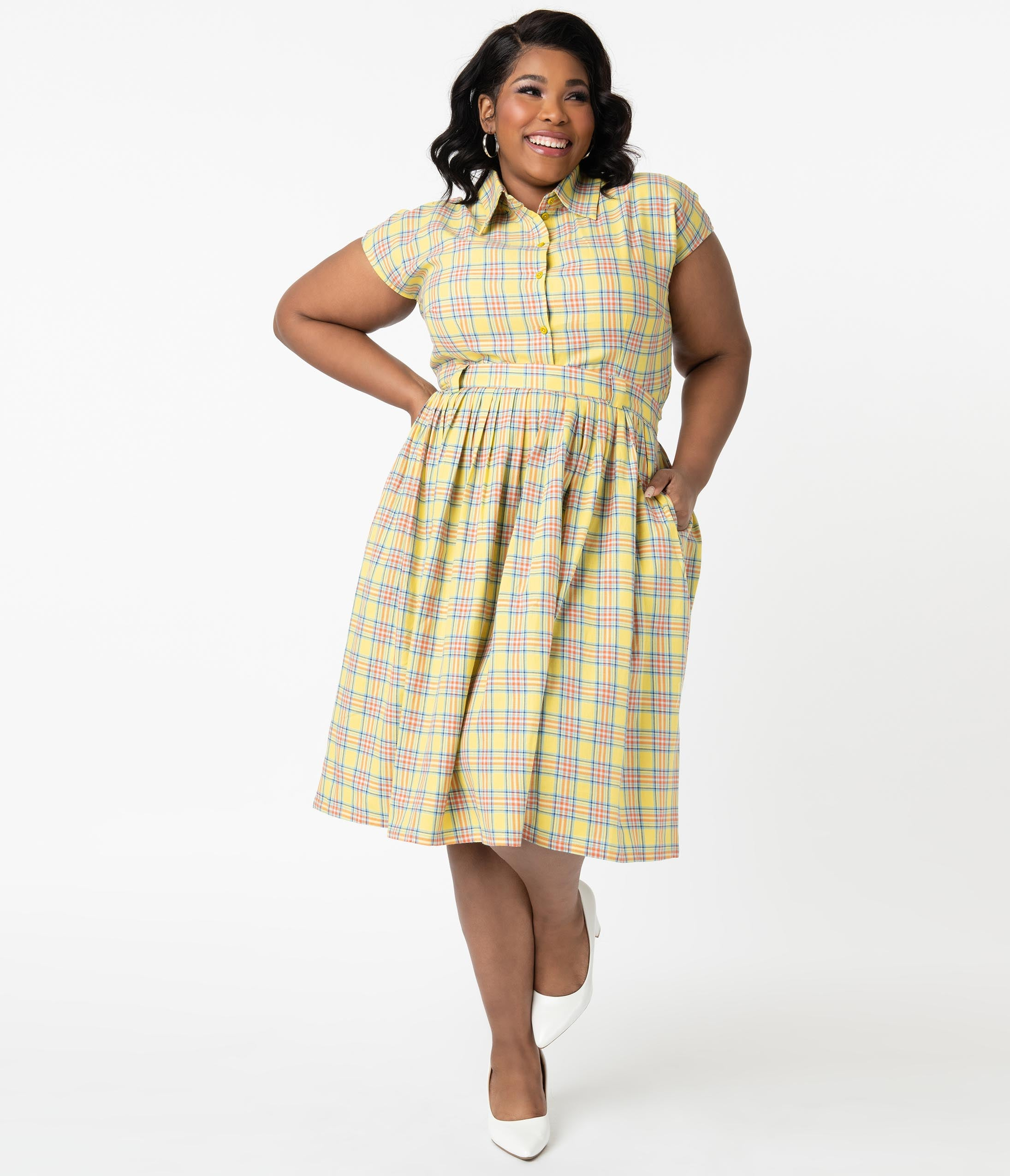 1950s Plus Size Fashion & Clothing History Plus Size 1950S Style Yellow Plaid Gloria Swing Skirt $78.00 AT vintagedancer.com
