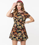 1960s Black & Multicolor Floral Print Mini Dress