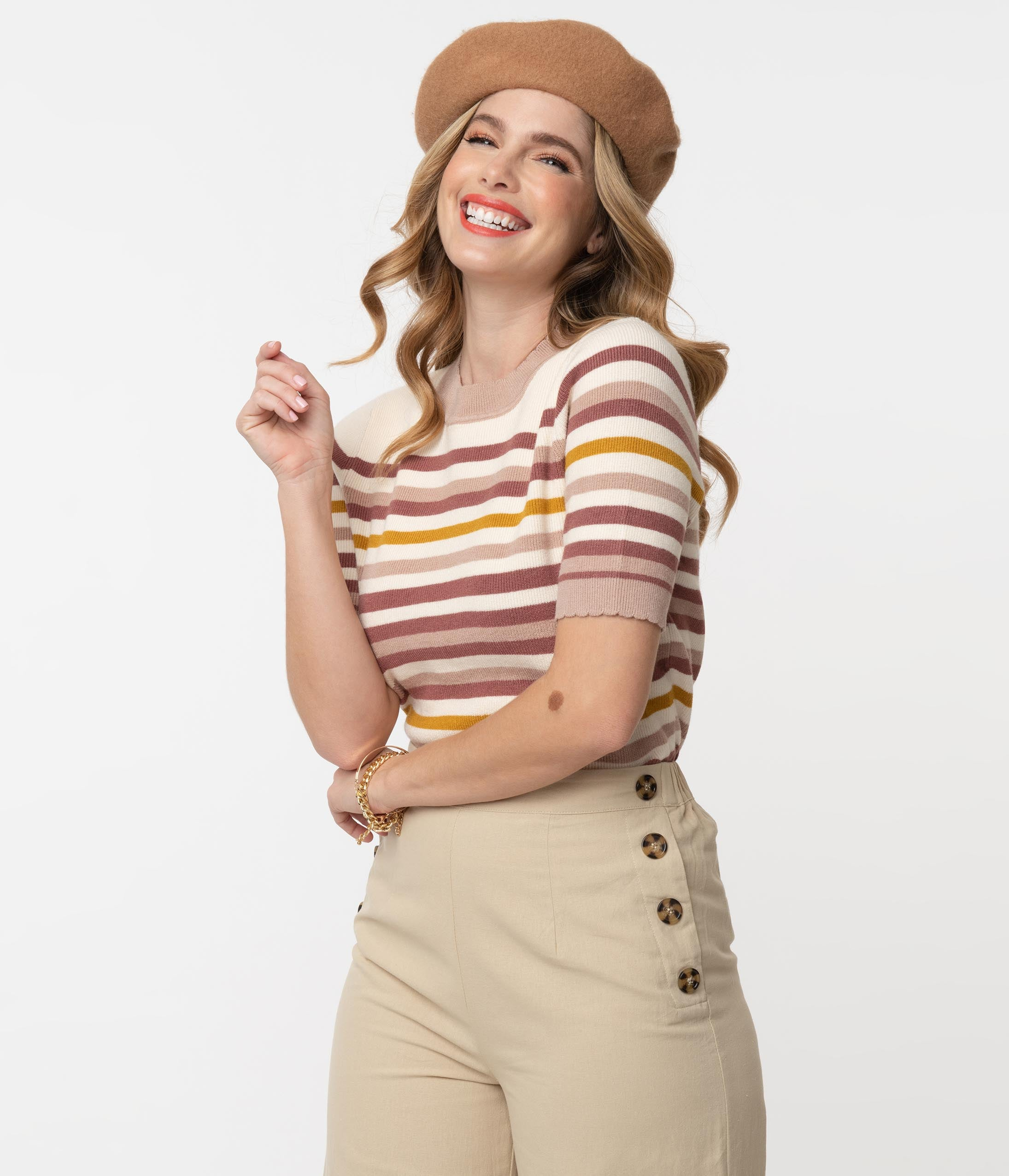70s Outfits – 70s Style Ideas for Women 1970S Style Cream  Brown Stripe Sweater Top $58.00 AT vintagedancer.com