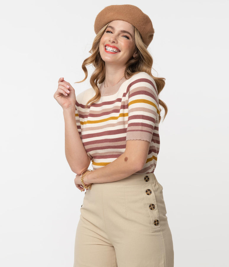 1960s Style Cream & Brown Stripe Sweater Top