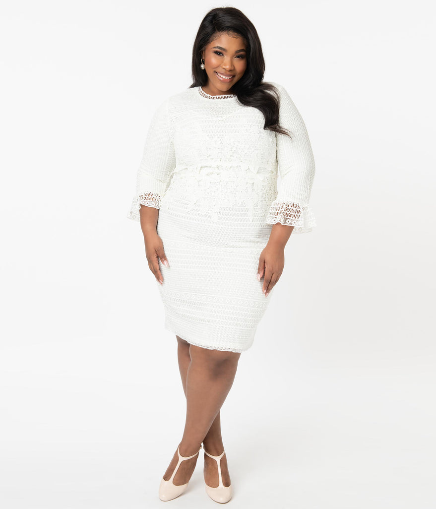 Plus Size 1960s Style Ivory Lace Crochet Pencil Dress