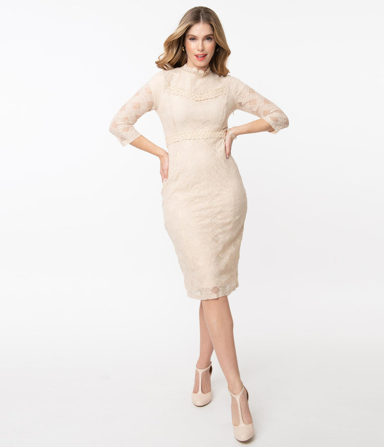 Vintage Style Cream Checkered Lace Pencil Dress