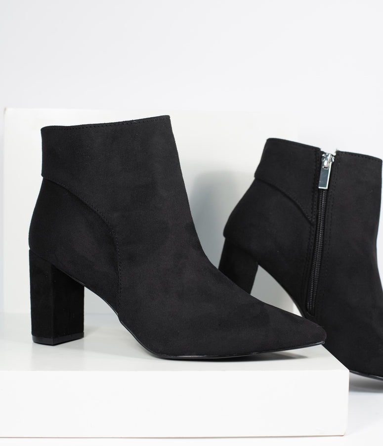 Black Suede Pointed Toe Booties