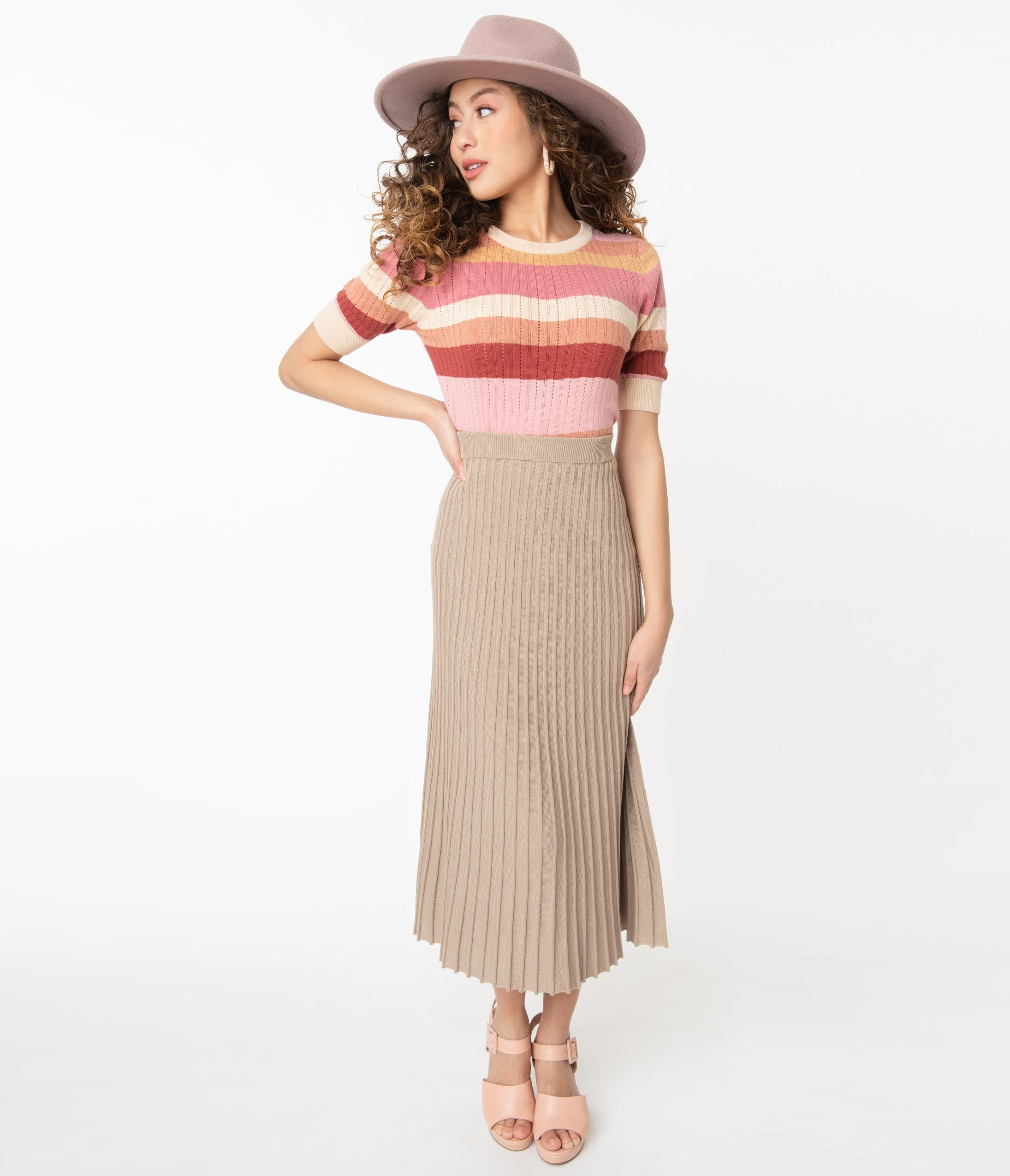 70s Clothes | Hippie Clothes & Outfits Vintage Style Taupe Pleated Knit Midi Skirt $58.00 AT vintagedancer.com