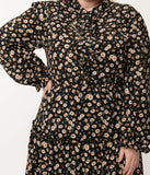 Plus Size 1970s Black & Ivory Floral Print Maxi Dress