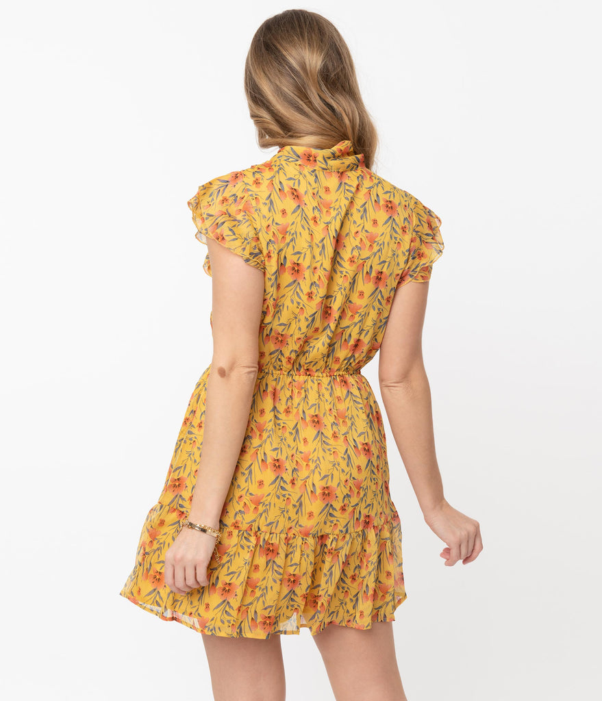 Honey Yellow & Red Floral Print Mini Flare Dress