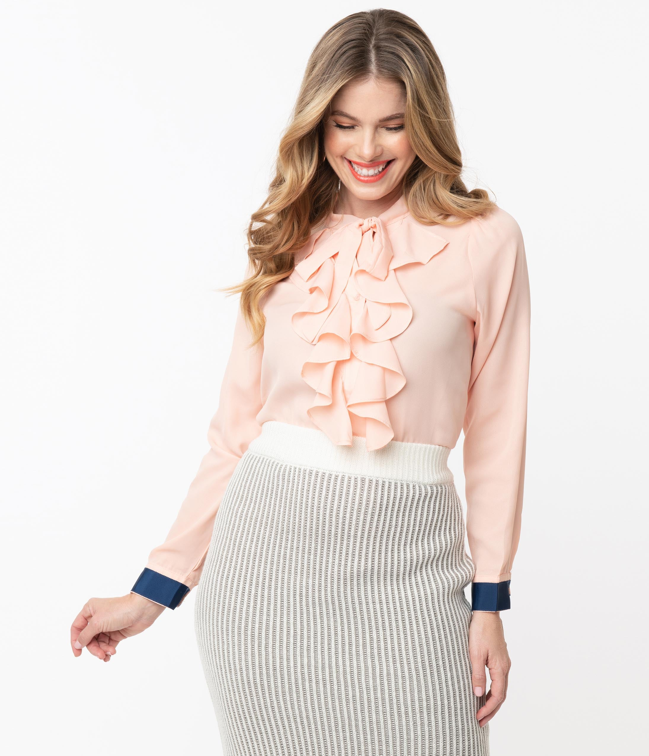 50s Shirts & Tops Vintage Style Light Pink Ruffle Bow Blouse $52.00 AT vintagedancer.com