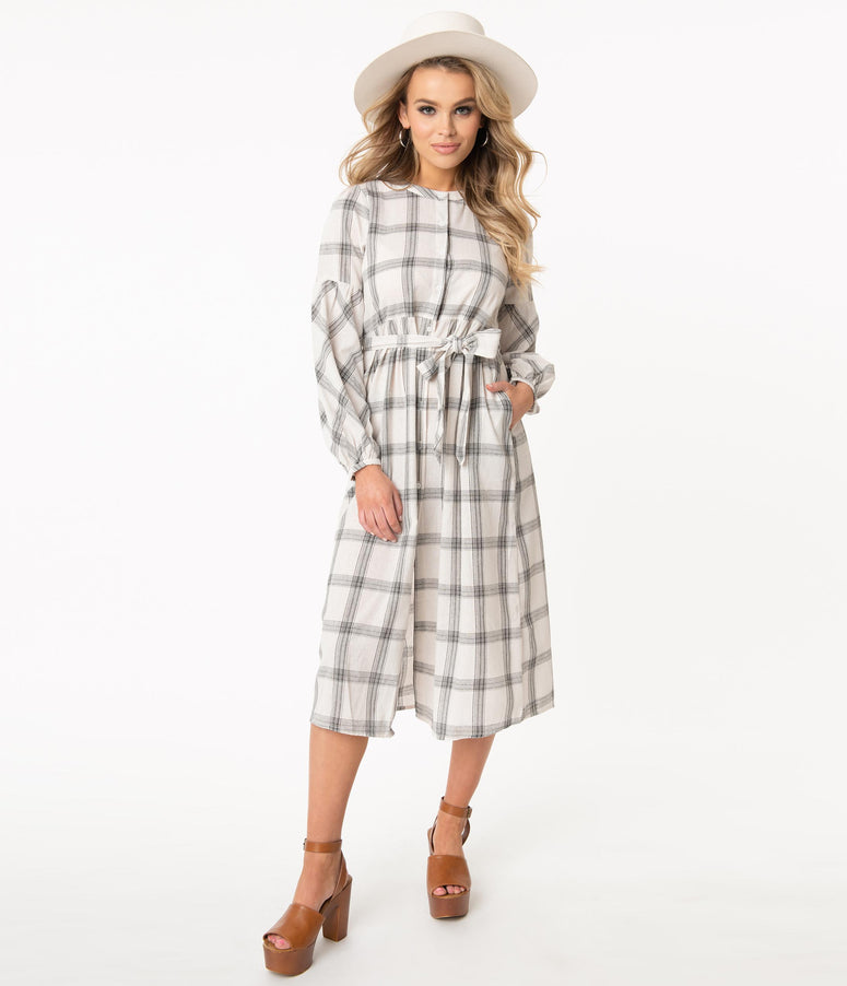 1940s Style Ivory & Grey Plaid Modest Midi Shirtdress
