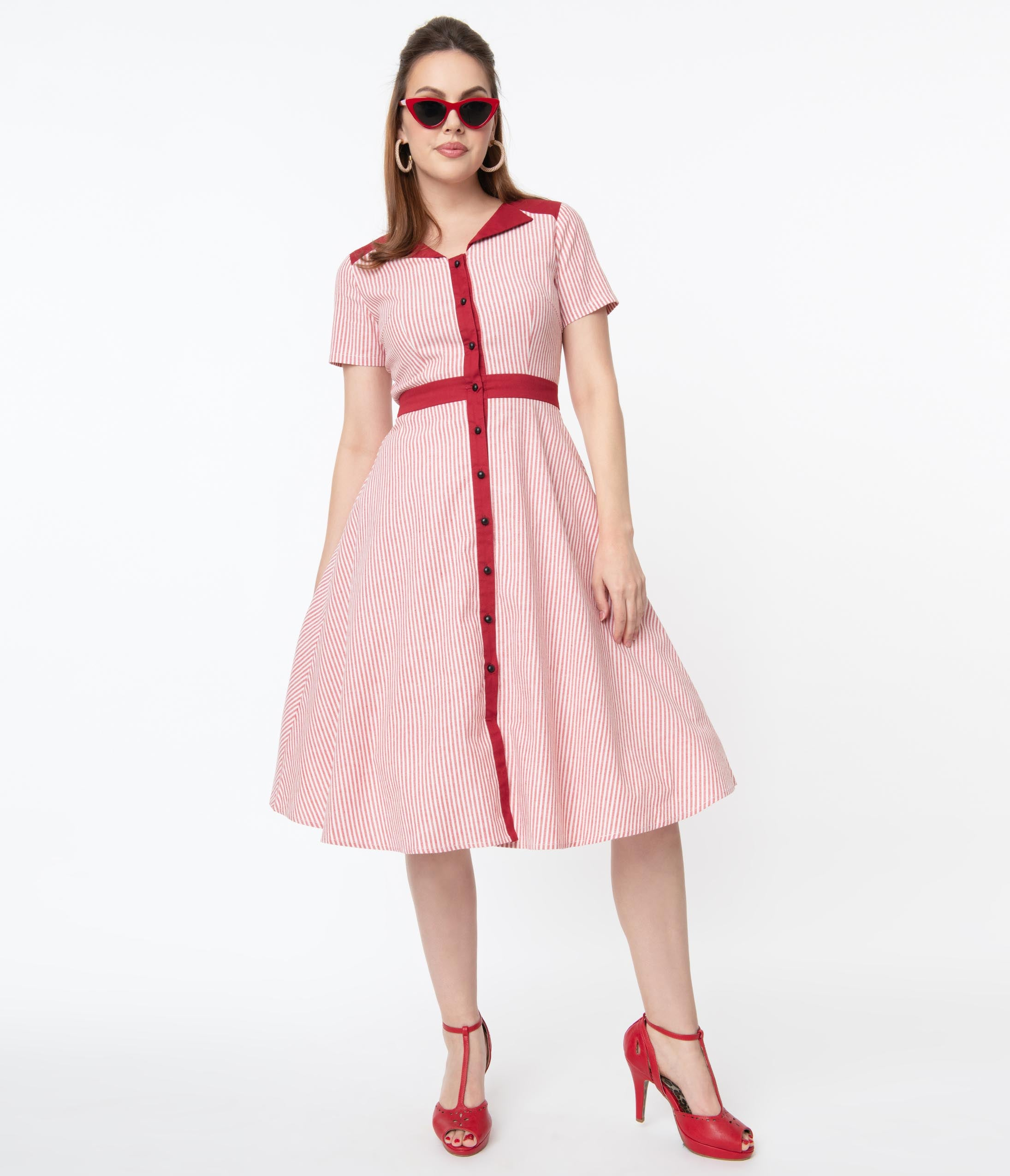 Pin Up Dresses | Pinup Clothing & Fashion Magnolia Place 1950S Style Red  White Stripe Button Up Swing Dress $78.00 AT vintagedancer.com