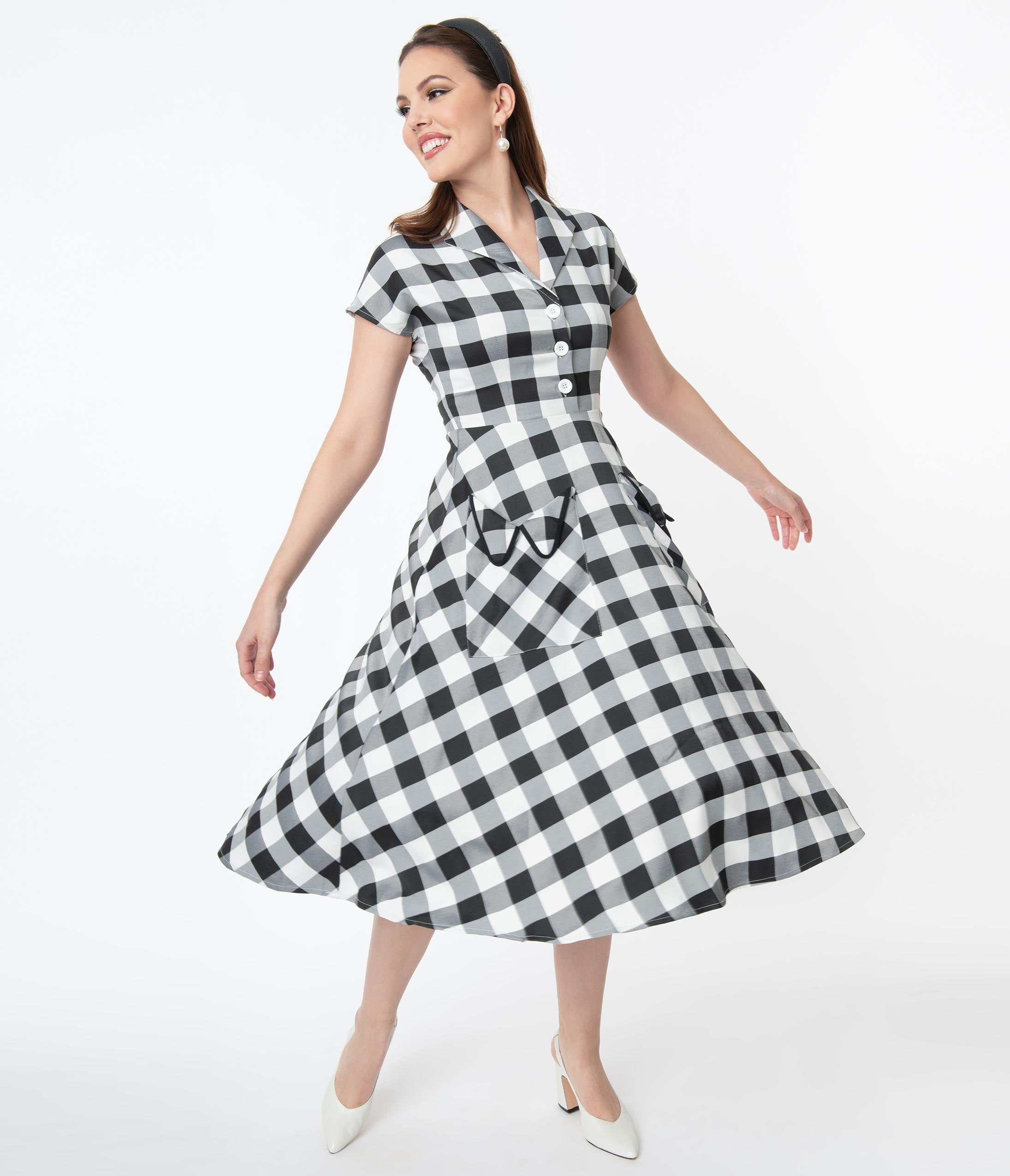 Pin Up Dresses | Pinup Clothing & Fashion Magnolia Place 1950S Style Black  White Gingham Swing Dress $78.00 AT vintagedancer.com