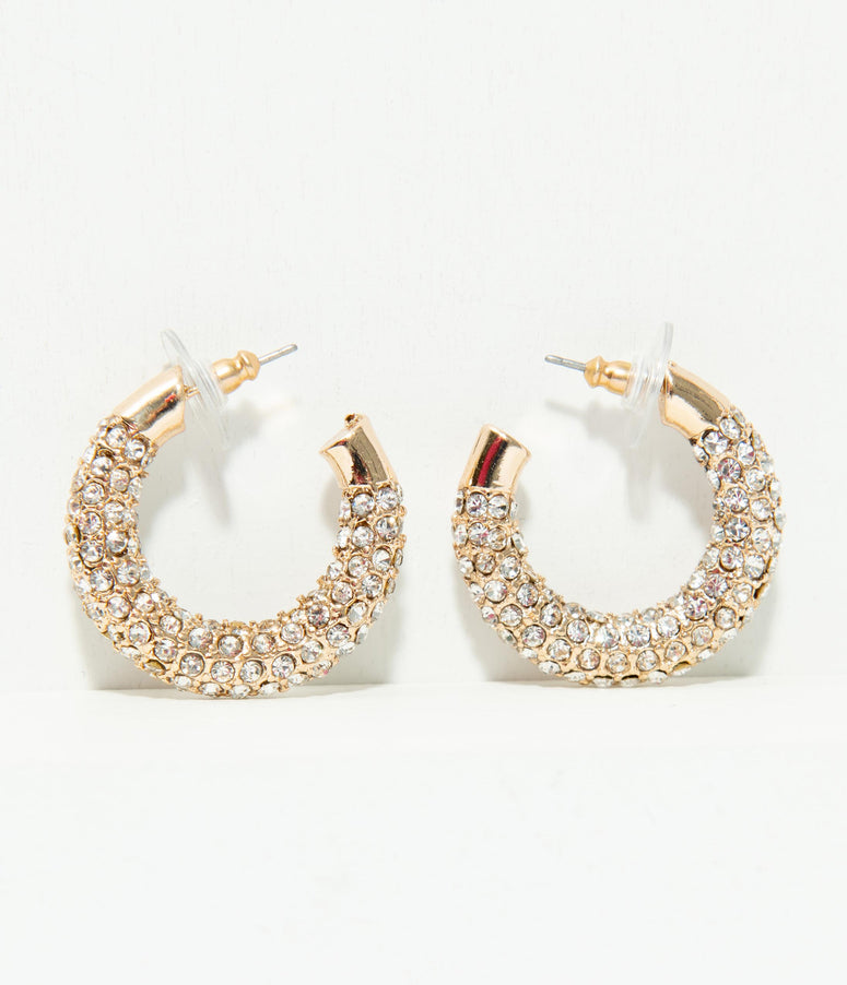 Gold & Silver Rhinestone Hoop Earrings