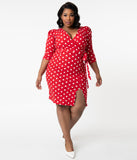 Plus Size Retro Style Red & White Polka Dot Pencil Dress
