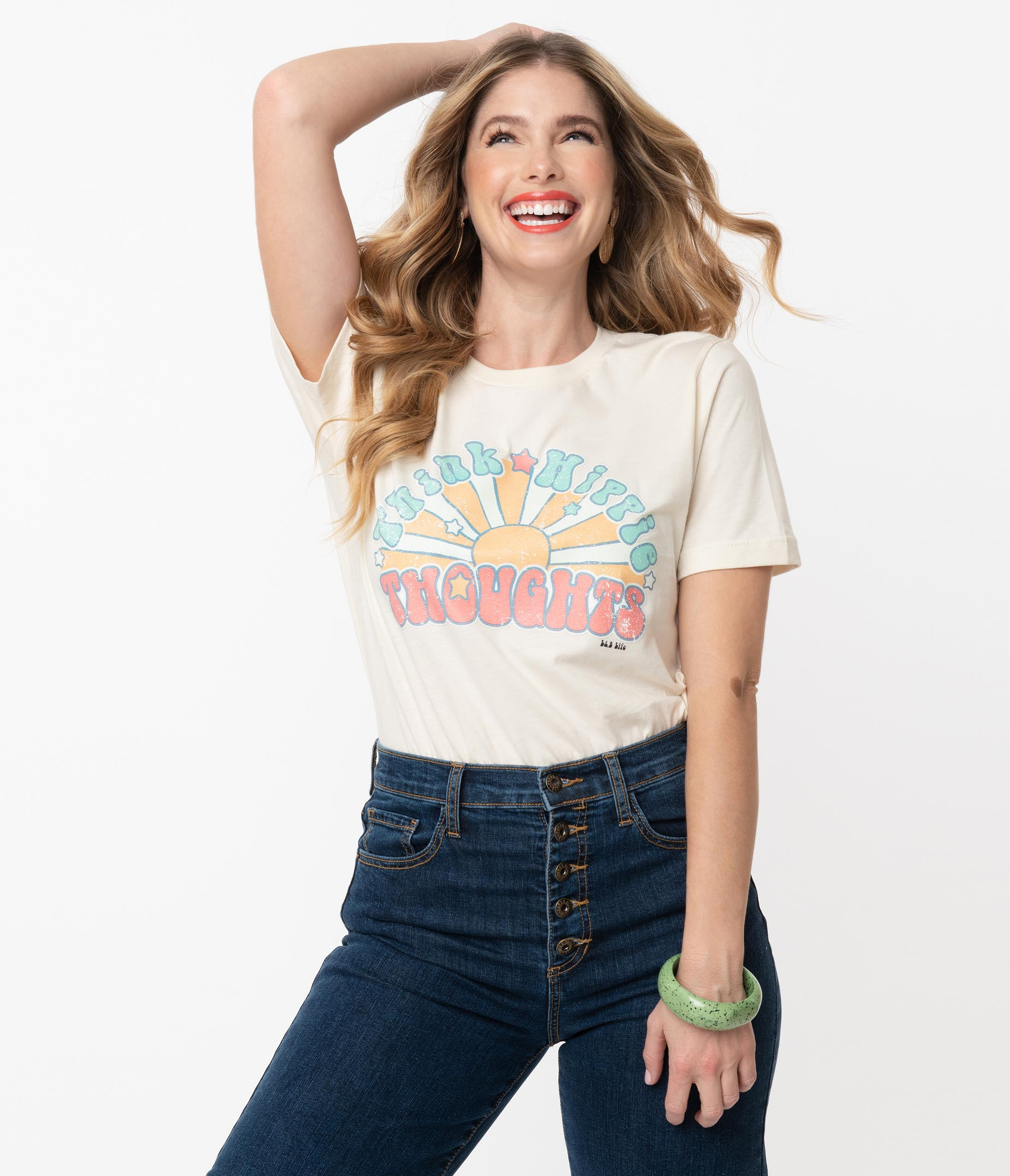 Shop Queen's Gambit Outfits – 60s Clothes Think Hippie Thoughts Unisex Distressed Graphic Tee $36.00 AT vintagedancer.com