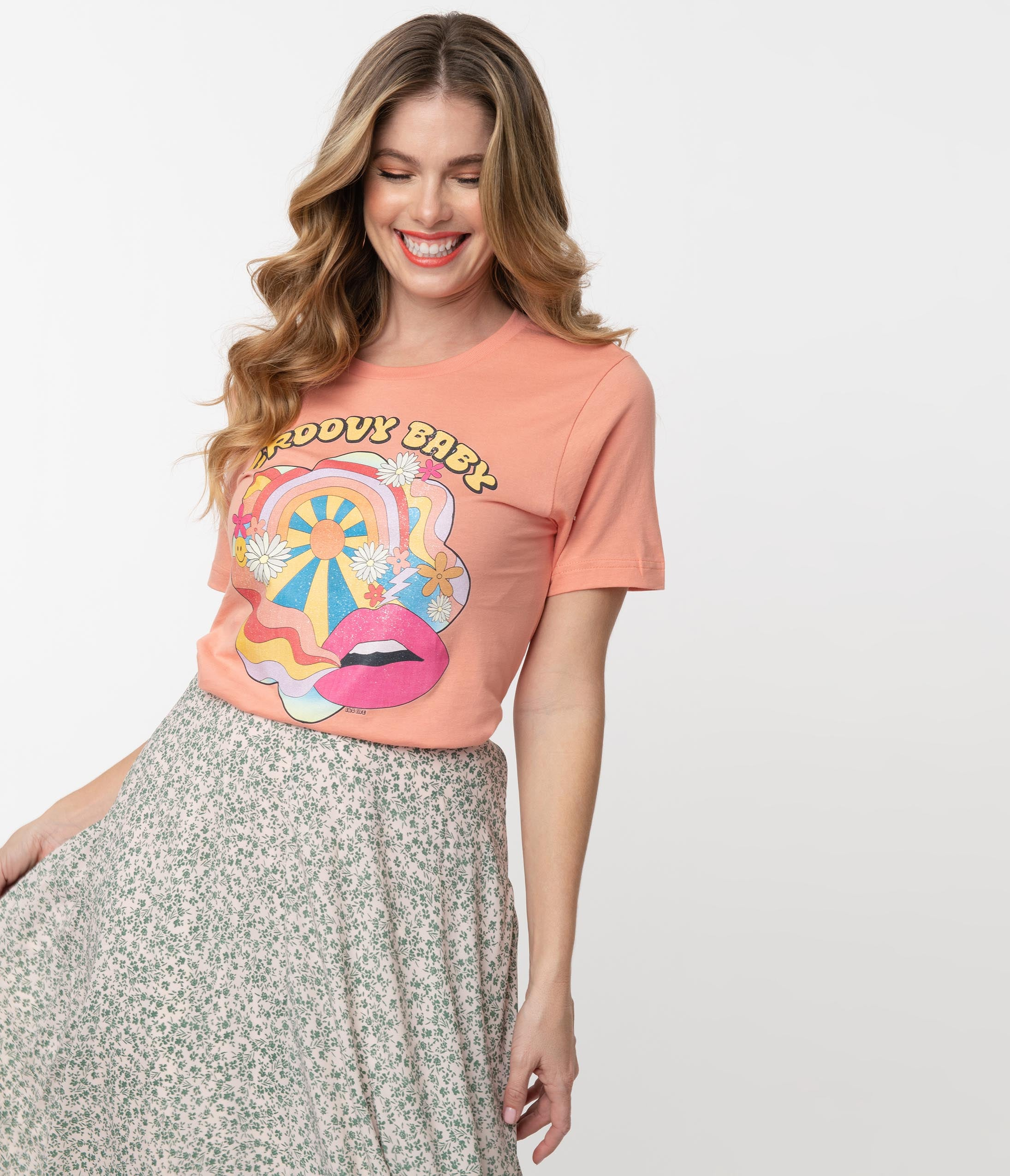 60s Shirts, T-shirts, Blouses, Hippie Shirts 1960S Sunset Groovy Baby Unisex Graphic Tee $36.00 AT vintagedancer.com