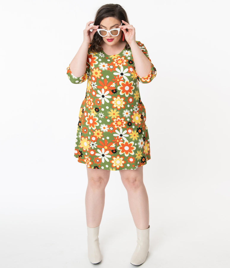 Smak Parlour Plus Size Retro Geo Floral Print Cosmic Shift Dress