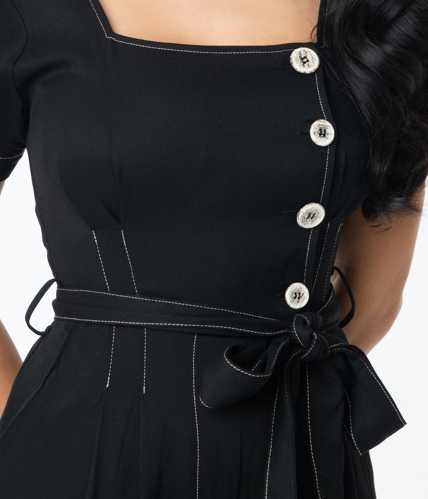 Retro Style Black Asymmetrical Button Jumpsuit