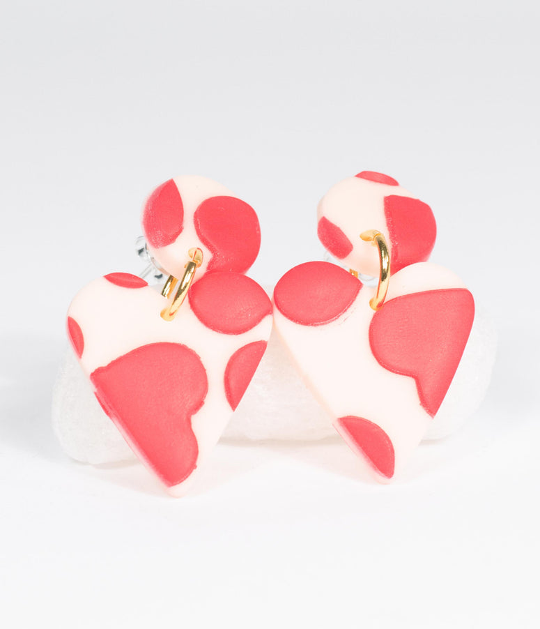 Red & White Hearts Drop Earrings