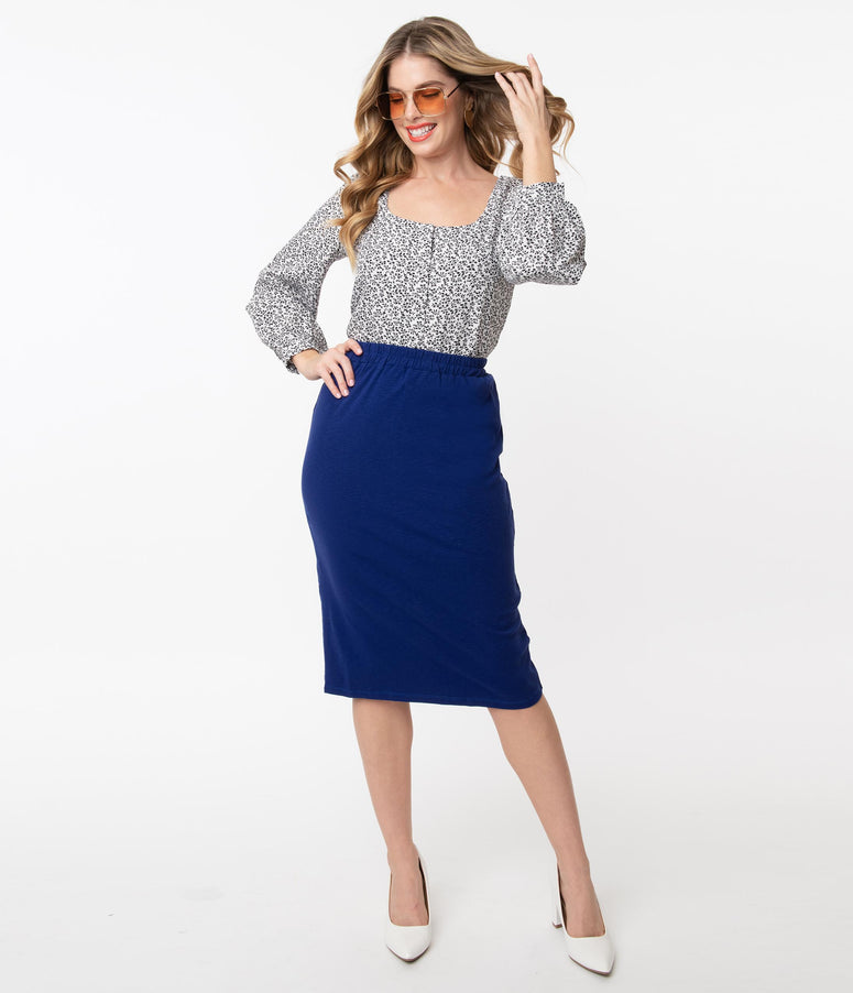 Retro Style Royal Blue A-Line Pencil Skirt
