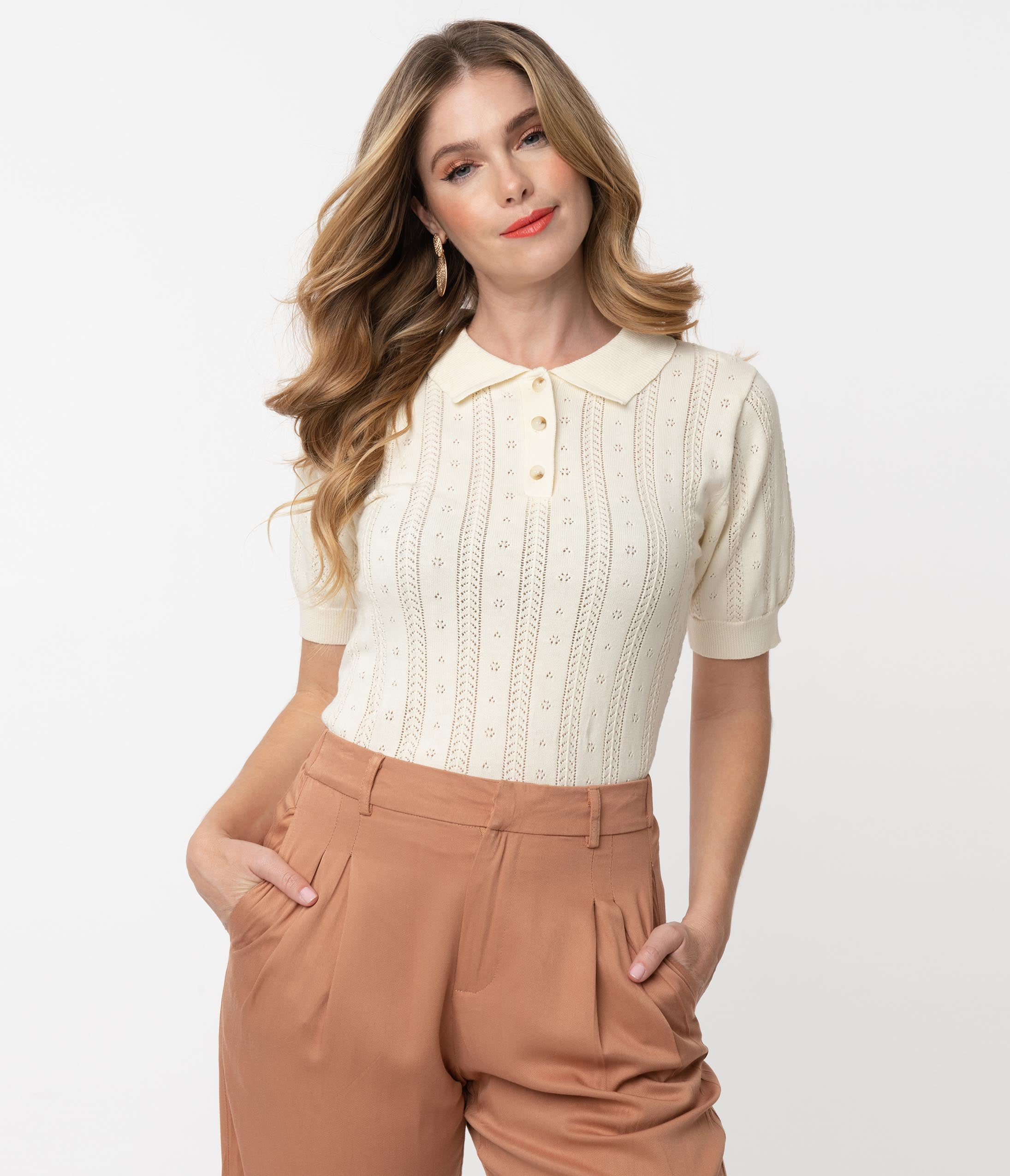 1930s Style Blouses, Shirts, Tops | Vintage Blouses 1950S Style Cream Perforated Polo Sweater Top $52.00 AT vintagedancer.com