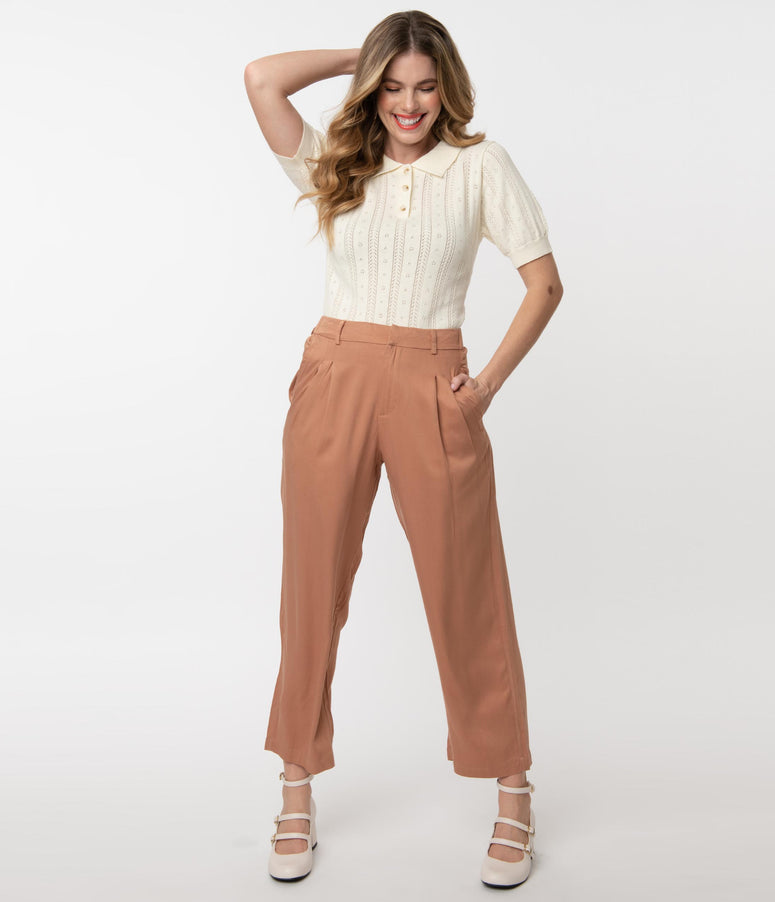 Retro Style Brick Brown High Waist Pleated Pants