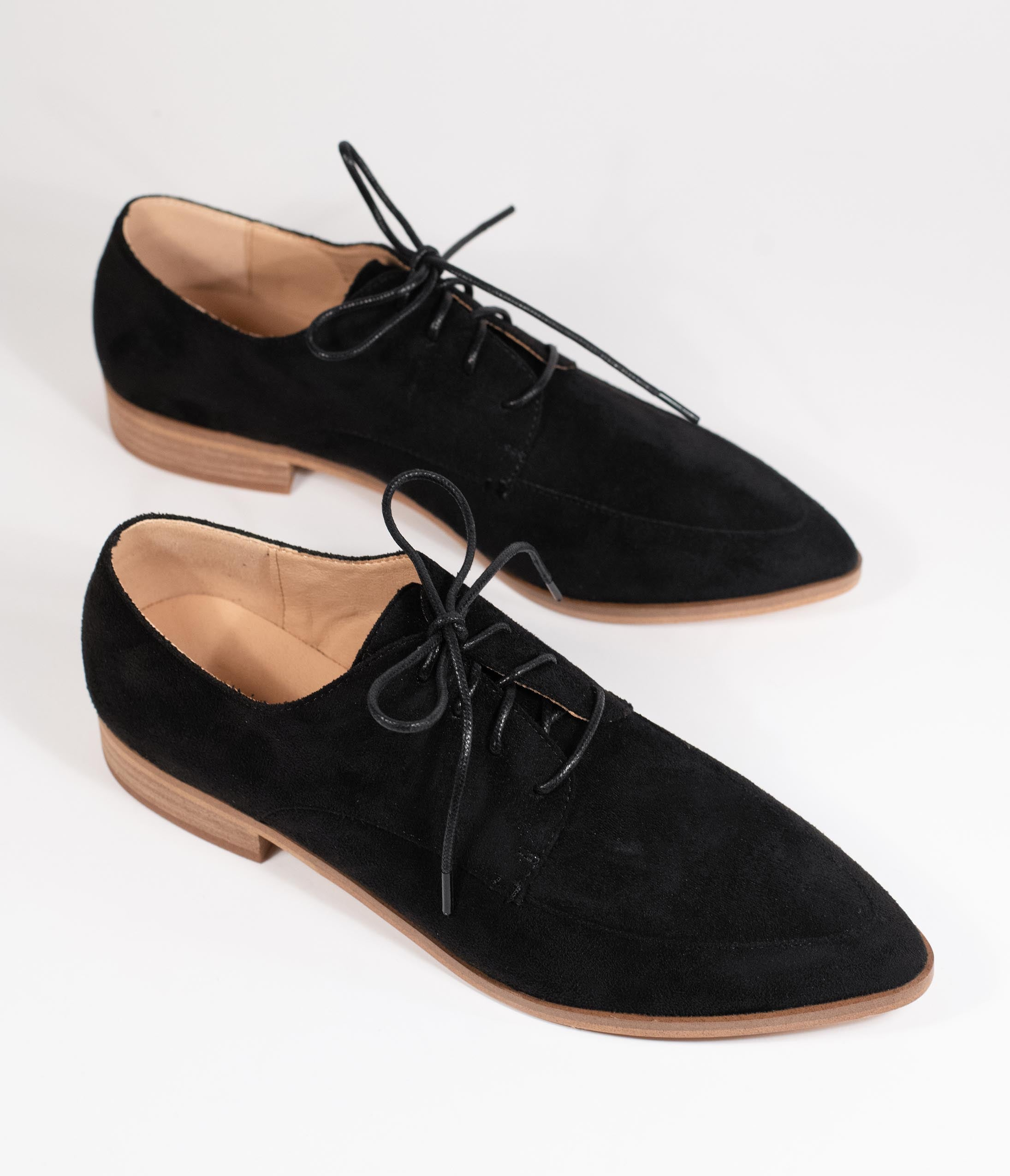 1980s Clothing, Fashion | 80s Style Clothes Black Suede Pointed Toe Oxford Flats $48.00 AT vintagedancer.com