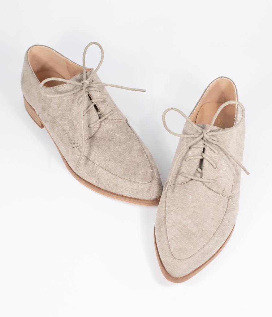 Taupe Suede Pointed Toe Oxford Flats